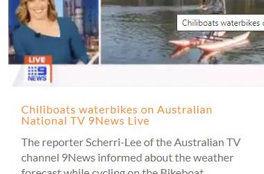 Chiliboats water bikes on Australian National TV 9 News Live